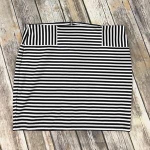 Black & White Stripe Mini Skirt