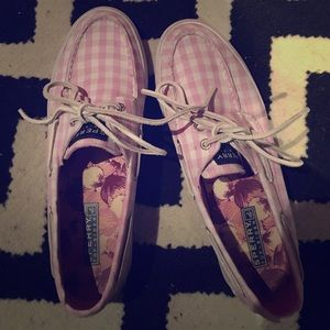 Sperry topsiders pink plaid canvas boat shoes