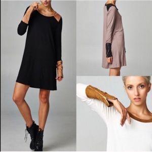 ZOE Zippered Sueded Cuff Tunic Dress - MOCHA