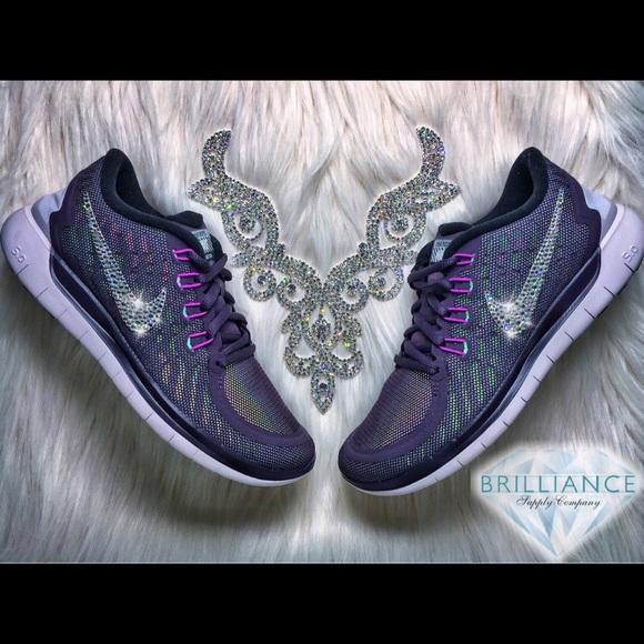 finest selection 56820 c3d1d Swarovski Nike Free 5.0 Purple Flash Running Shoes