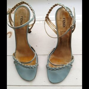 FENDI Shoes - FINAL!*💚 Cute! FENDI Blue & Gold Strappy Heels💙