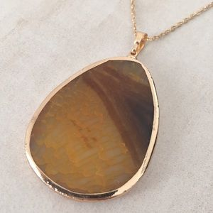 New York & Company Amber geode necklace