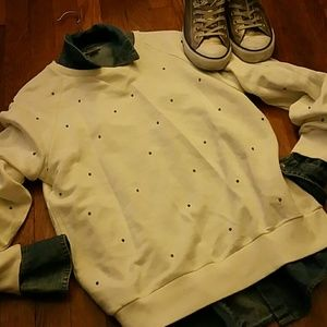 ZARA Fun Basic Sweatshirt w/gold studs
