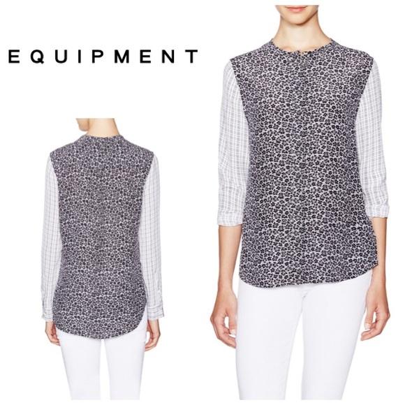 b6d680735b46c6 Equipment Tops - Equipment Lynn Contrast sleeves shirt - silk