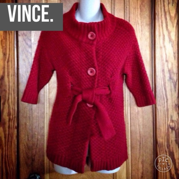 92% off Vince Sweaters - Vince crimson red cashmere knit cardigan ...