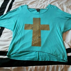 miss chievous Tops - Teal mid sleeve shirt with gold Cross