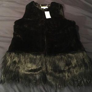 MK Michael Kors black fur vest