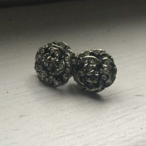 Fossil rose silver earring