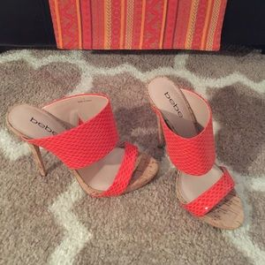 NEW!!! BEBE coral heels with cork. 