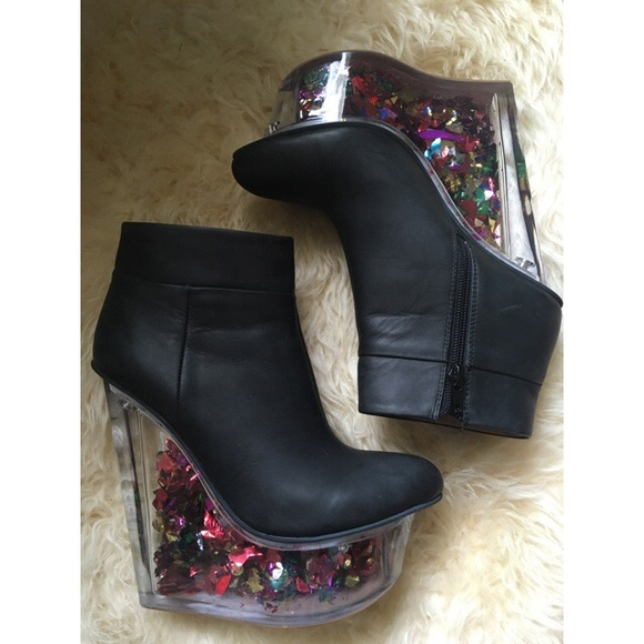 09965edd092 Jeffrey Campbell Shoes - Jeffrey Campbell Leather Icy Bootie w  confetti