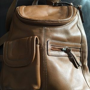 Leather Tignanello cognac backpack purse