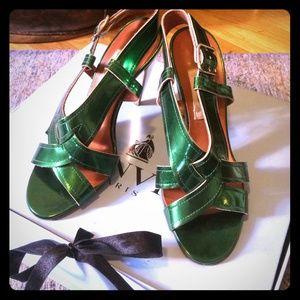 Lanvin Ete 2009 sz36 metallic green & gold sandals