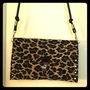 Leopard print small cross body bag