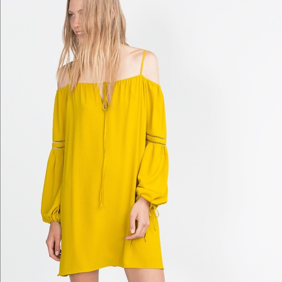 Zara mustard yellow dress