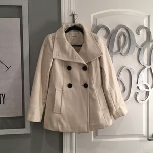 Calvin Klein Off White Pea Coat with Black Buttons