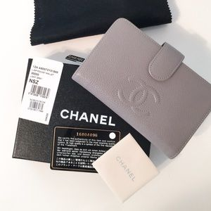 CHANEL Handbags - Chanel light grey L-zip wallet