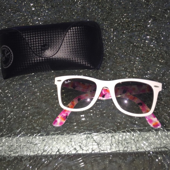 703c9d106cdc5 Ray-Ban Accessories   White Rayban Wayfarers With Floral Print On ...