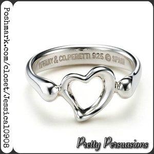 Tiffany & Co. Jewelry - Tiffany & Co. Elsa Peretti Open Heart Silver Ring