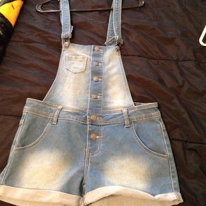 Overall shorts.