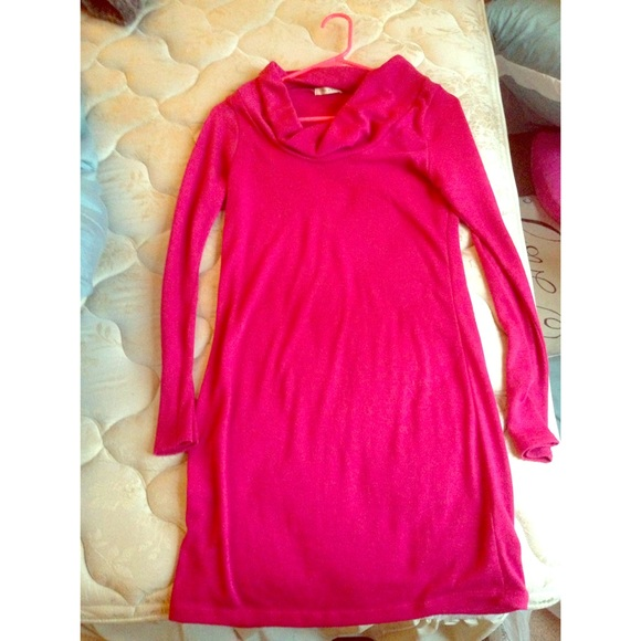 67% off Kohl's Sweaters - Long sleeve hot pink cowl neck long ...