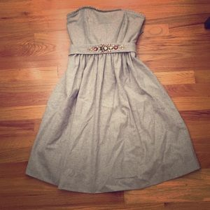 Gray wool jewel belted BR dress - 6