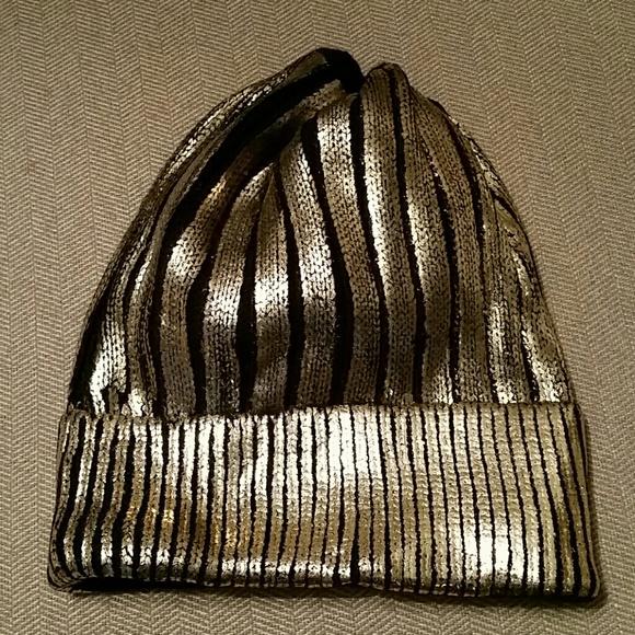 Accessories - Black Gold Metallic Beanie Hat 5e051e8c8b52