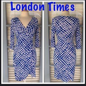 London Times White Dress w/blue circles Size 2