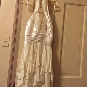 NWT BCBG white chiffon halter dress