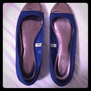Merona blue flats with bronze toe