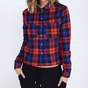 Tops - NWOT Plaid Hi Low Button Up Shirt