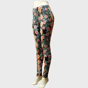 Pants - Aztec Pattern & Flower Print Leggings