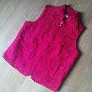 Red floral embroidered vest