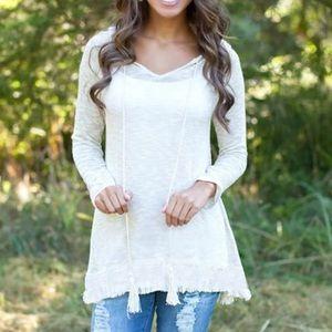 Beautiful White Crochet Hi/Lo Hoodie Tunic  NWOT