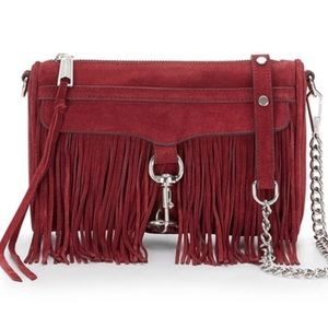 Rebecca minkoff fringe mini Mac suede red