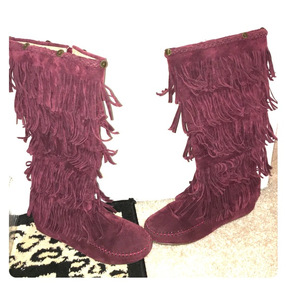 84% off Shoes of soul Shoes - Purplish maroon fringe boots from ...
