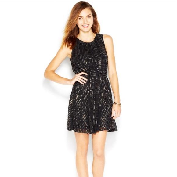 Maison Jules Dresses & Skirts | Maison Jules Black Gold Polka Dot ...