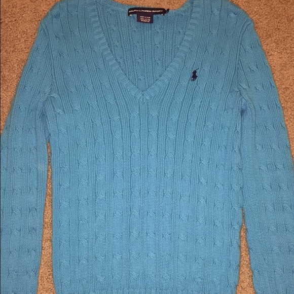 f69921335d8 Ralph Lauren Polo blue cable knit sweater v neck