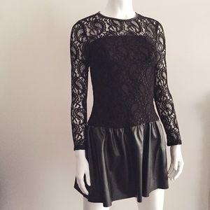 Dresses & Skirts - Black Lace Long Sleeve Dress w/ Faux Leather Skirt