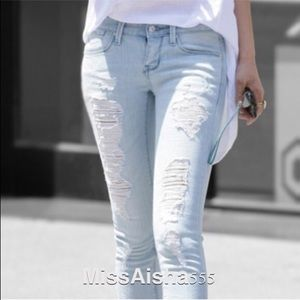 Light denim distress jeans ONE HOUR SALE RESTOCKED