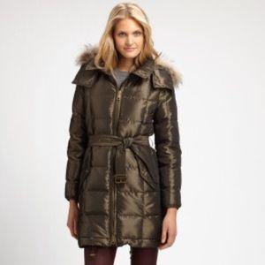 Burberry Brit Fur Trimmed Jacket Green Medium