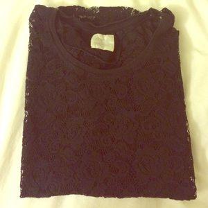Zara Black Lace Tee Sz Med