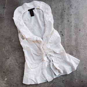 Grass Collective Tops - Grass Collective White Ruffle Button Down