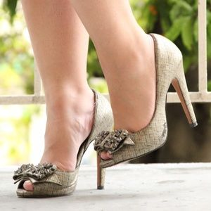 Sam Edelman Shoes - Sam Edelman Lorna Metallic Peep Toe Heels