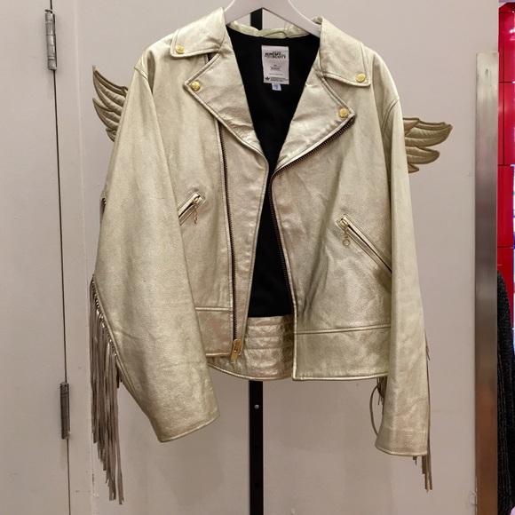 41aa0053cfa3 Jeremy Scott x Adidas leather wings fringe jacket