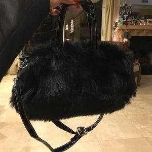 f171b8b61bbd Topshop Bags - Black furry fluffy black purse