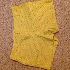 Yellow eyelet loft shorts