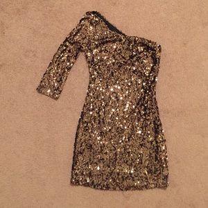 Gold and black sequin one shoulder dress