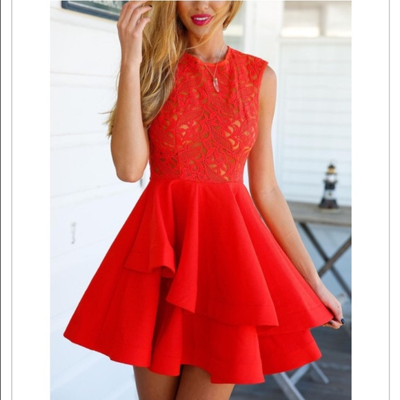 Gilded Amazon Dresses & Skirts | Valentines Flirty Fury Red Lace ...