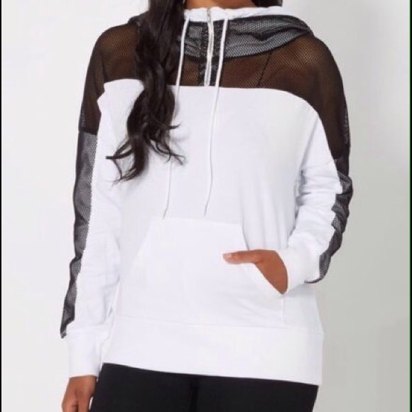 Rue21 Sweaters - HP🎉Black Mesh Sleeves Mod Relax Fit Hoodie White
