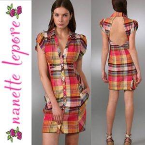 NANETTE LEPORE Rare Bermuda Plaid Shirtdress